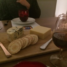 Cheese Platter: Emporium Selection Aged Warrnambool Cheddar 20-month and Danish Smooth Blue with assorted crackers - ALDI Degustation Dinner