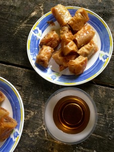 Homemade baklava and hot tea at Duf waterfall - Real Food Adventure Macedonia and Montenegro