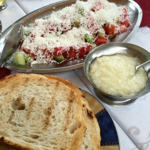 Shopska salad and makalo (garlic spread) - Real Food Adventure Macedonia and Montenegro