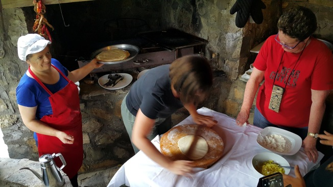 My turn! Learning to roll dough for the pie - Real Food Adventure Macedonia and Montenegro