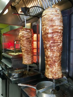 Meat roasting on the vertical spit