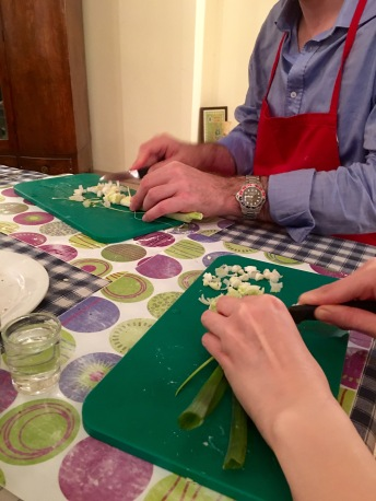 Chopping the spring onions - Athens Cooking Lessons
