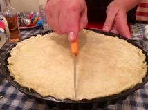 Cutting the top layer into segments - Athens Cooking Lessons