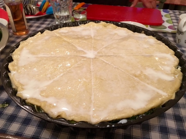 Spinach and cheese pie (spanakopita) ready for the oven - Athens Cooking Lessons