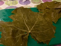 Lay the grape leaf out on the board - Athens Cooking Lessons