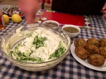 Mixing the tzatziki dip - Athens Cooking Lessons