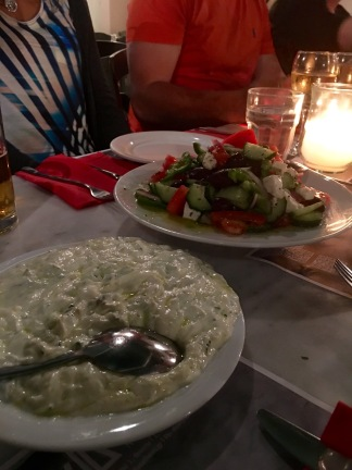 Tzatziki dip and traditional Greek salad - Athens Cooking Lessons