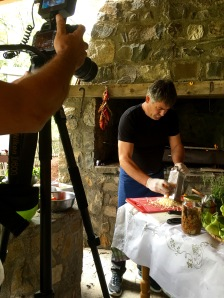 Al Jazeera camera crew filming Tutto at lunch - Real Food Adventure Macedonia and Montenegro