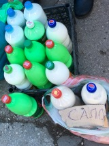 Bottles of pig fat for sale, Bitola - Real Food Adventure Macedonia and Montenegro