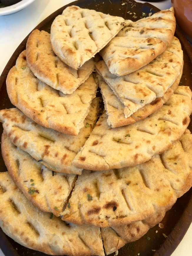 Pita bread served at the Oionos Greek Tavern, Rhodes