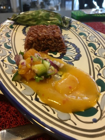 Kaffir lime ginger snapper in banana leaf with mango salsa and coulis - Balinese 'Market Tour to Plate', Spice Bazaar