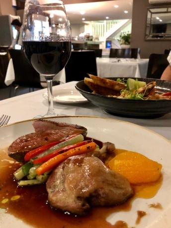 Duo of duck, breast and confit of leg, orange glaze, julienne vegetables - Busbys Restaurant and Bar, Highett