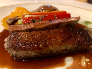 Duo of duck, breast and confit of leg, orange glaze, julienne vegetables - Busbys Restaurant and Bar, Highett