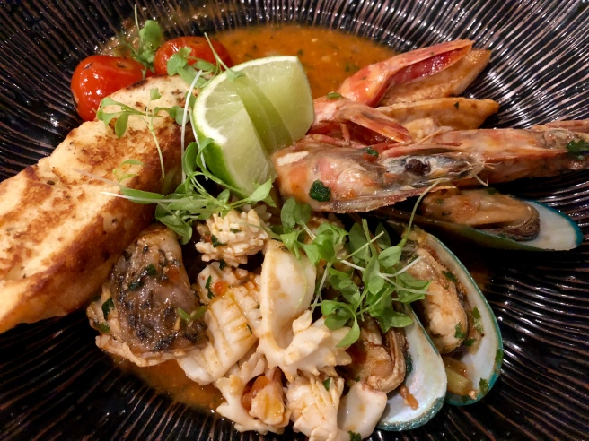 Bouillabaisse, prawns, calamari, fresh fish pieces, mussel, tomato confit - Busbys Restaurant and Bar, Highett