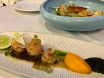 Japanese Scallops, braised pork belly, pistachio, carrot puree, caviar - Busbys Restaurant and Bar, Highett