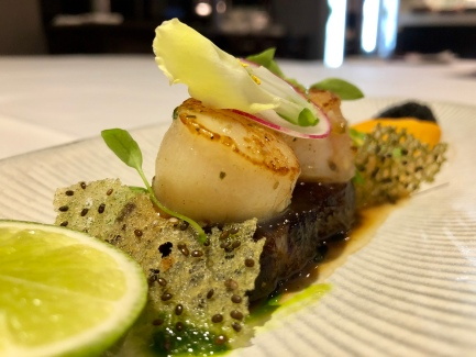 Japanese Scallops, braised pork belly, pistachio, carrot puree, caviar - Busbys Restaurant and Bar, Highett